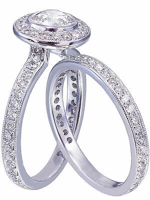 GIA H-VS2 18K White Gold Round Cut Diamond Engagement Ring and Band Bezel 1.55ct 10