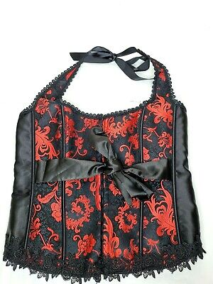 iCollection Red & Black Lace Corset Size 42 Ribbon Halter Sexy Goth Punk