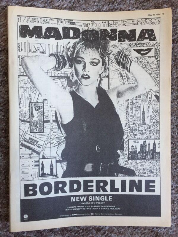 Madonna 1984 Full Page Borderline Single Magazine Advert / Clipping