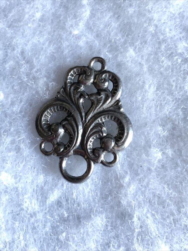 1910s Art Nouveau Pendant White Metal Antique Jewellery Jewelry Retro Old