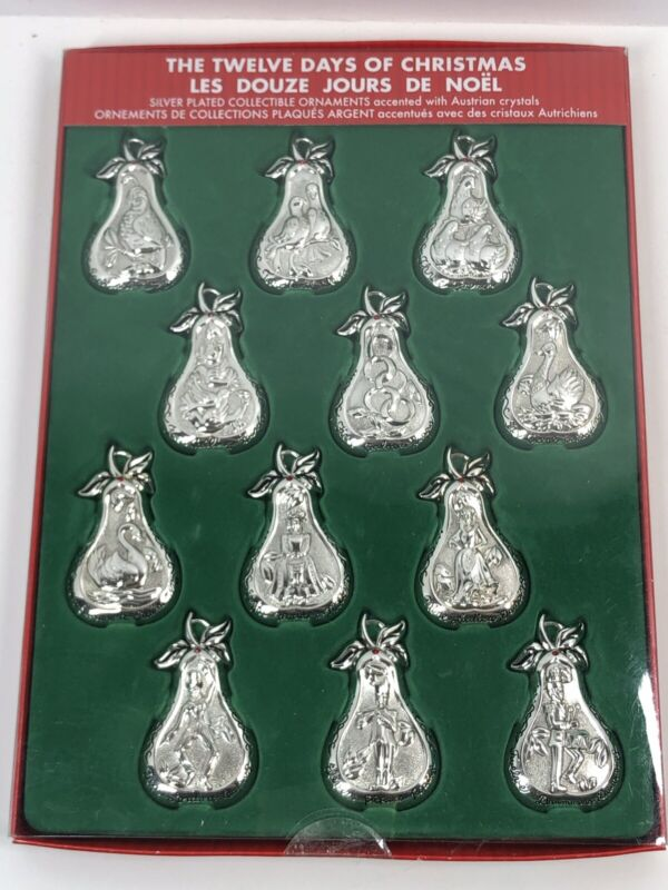 THE TWELVE DAYS OF CHRISTMAS  Silver Plated Ornaments Accented Austrian Crystals