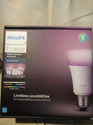 NEW PHILIPS HUE 471960 WHITE COLOR AMBIANCE BULB STARTER KIT 800 Lms BRAND NEW