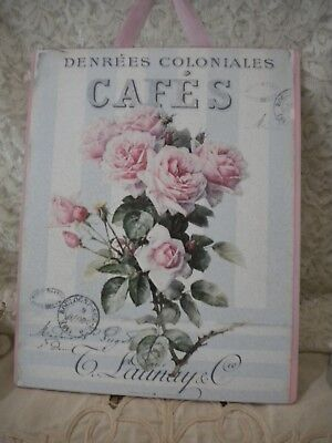 "Shabby Chic / Vintage /Paris / Roses Hanging Plaque 8""x 10"""