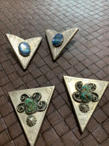 Sterling Silver and Turquoise Collar Tips the other is unk metal