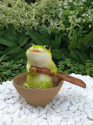 Miniature Dollhouse FAIRY GARDEN Figurine ~ Frog Rowing Boat ~ NEW