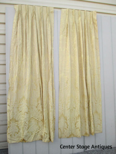 COL 03-  1 PAIR Vintage Damask Curtain Panels Drapes weighted Dupioni silk lined