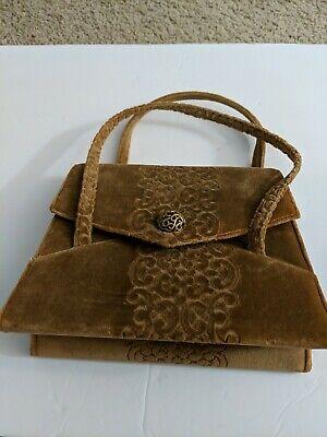 1940s Handbags and Purses History LEWIS CROWN VINTAGE 1940'S ERA BAG - Suede with Mirror $32.50 AT vintagedancer.com