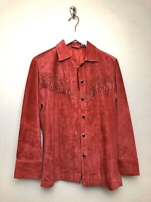 Chicos Leather Jacket Fringe Size 0 US 4 Small Red Laser Cut Button Boho Suede