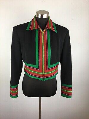 Vintage Emanuel Ungaro Crop Blazer Jacket 8 Black Multicolor Serape Stripe Zip
