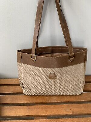 Authentic Vintage GUCCI Brown GG PVC Canvas and Leather Tote Bag Purse