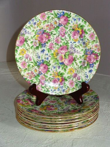 8 Royal Winton Grimwades Chintz China SUMMERTIME Bread Plates Pre-1960