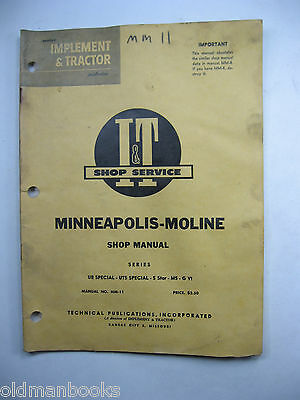 Minneapolis Moline Ub Uts Special 5 Star M5 G Vi Mm-11 It Shop Manual Series