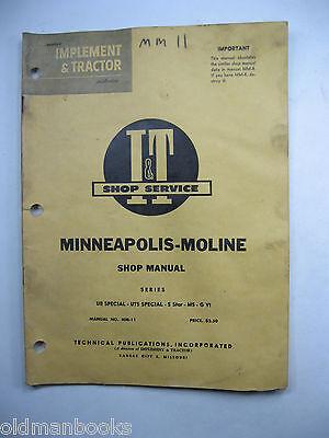 Minneapolis Moline Ub Uts Special 5 Star M5 G Vi Mm-11 It Shop Manual Series