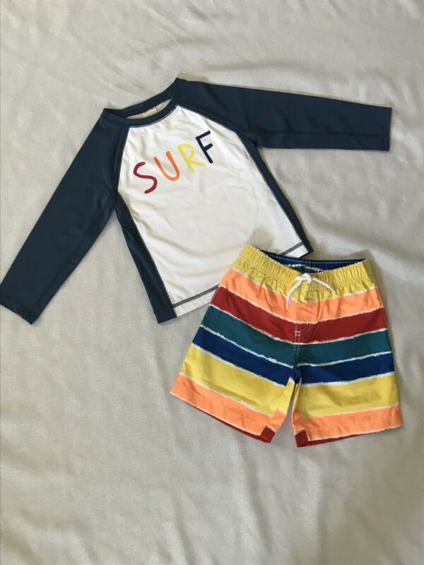 Gymboree 3T Toddler Boy Swim Trunks Rashguard NWT Surf Beach Rainbow Stripes