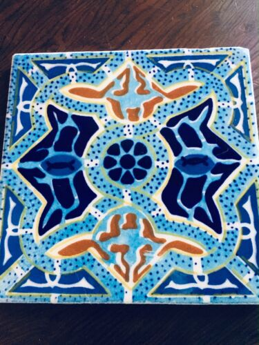 "Vintage Monterey Mexico 6"" blue ceramic tile"