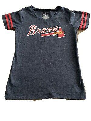 Atlanta Braves Kids Blue 5th & Ocean VNeck T-Shirt Size Medium Girls Ringer ATL Blue Kids Ringer T-shirt