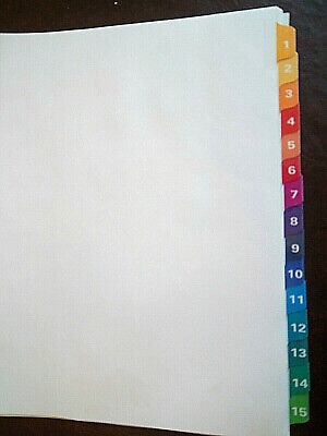 Set Of 1 Avery 1-15 Multi Color Index Dividers Tabs 3-hole Punched New