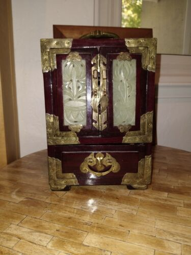 """Vintage 10"""" Chinese Rosewood Jade and Brass jewelry box & silk lined drawers"""
