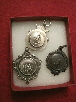 3 Vintage 1959/60 Soccer Football Silver and Bronze Medals Fobs Charms Pendants