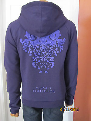 VERSACE Collection Embroidered Zip Up Hoodie Sweatshirt Purple Size M ~NWT~