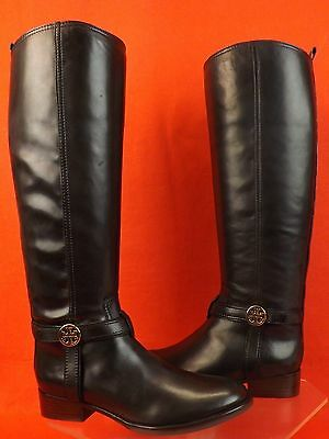 NIB TORY BURCH BRISTOL BLACK  LEATHER GOLD REVA TALL HARNESS RIDING BOOTS 8.5