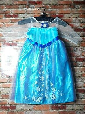 Walt Disney World Elsa Fantasy Play Costume Blue Dress Size 4-6x