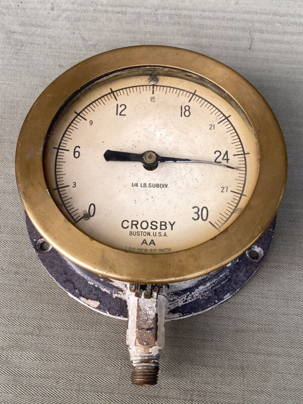 Vintage Steam Pressure Brass Gauge Crosby AA Boston MA