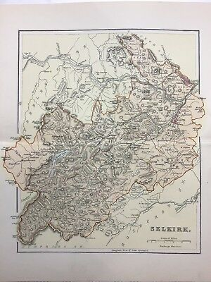 Selkirk, Antique County Map c1900, Scotland, Atlas, Galashiels, St Mary's Loch