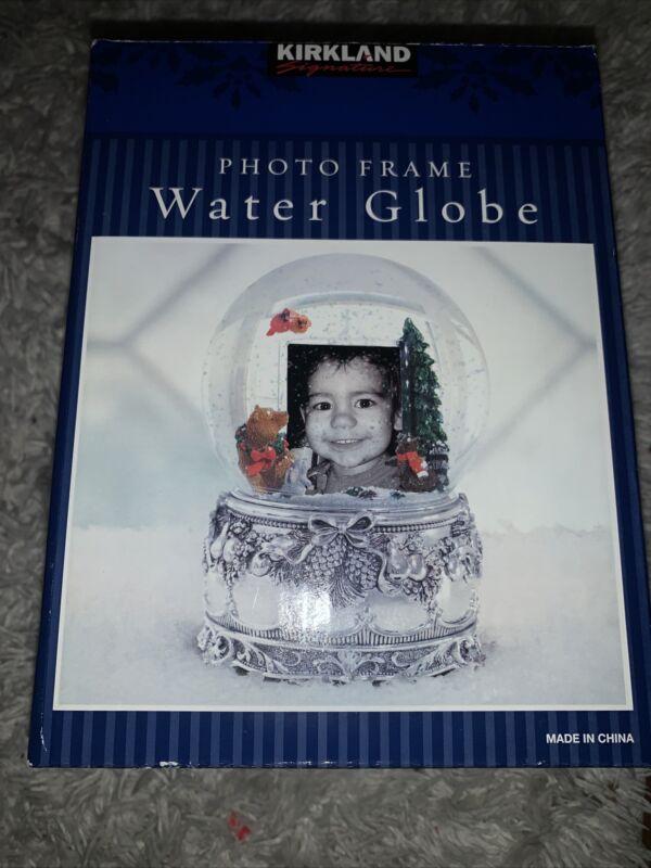 New sealed Christmas Theme Kirkland Signature Photo Frame Musical Water Globe