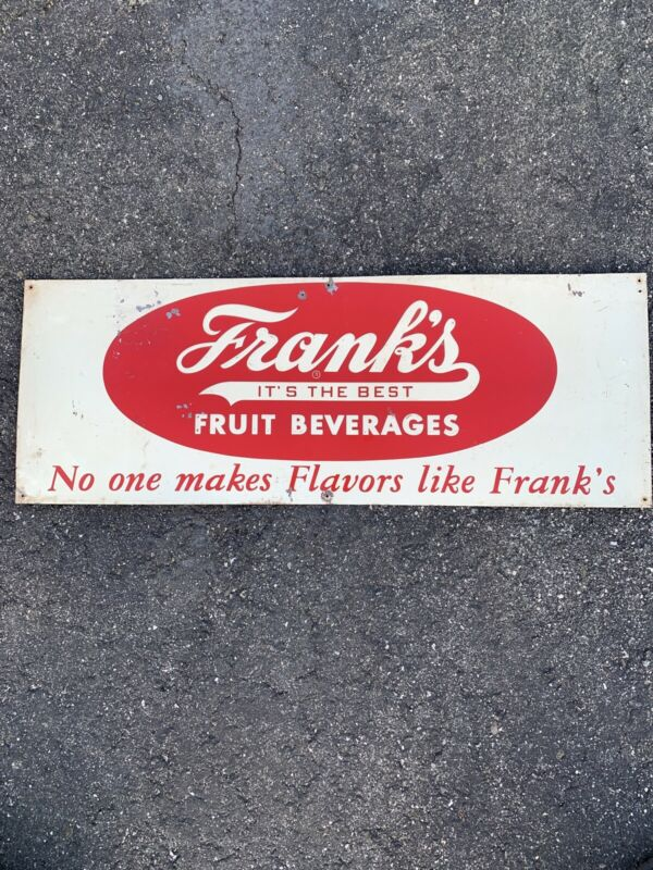 Antique Vintage Franks Orange Nectar Soda Advertising Sign 31.5x11.75