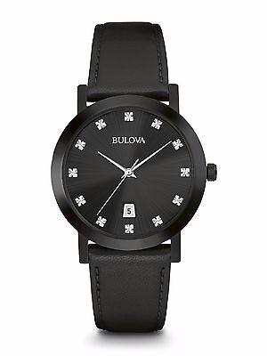 Bulova Men's 98D124 Diamond Markers Quartz Vile Leather Strap Watch