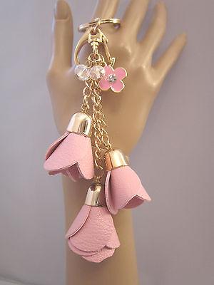 Schlüsselanhänger Taschen Anhänger Gold Rosa 3 Rosen Perlen Blume Kunst Leder