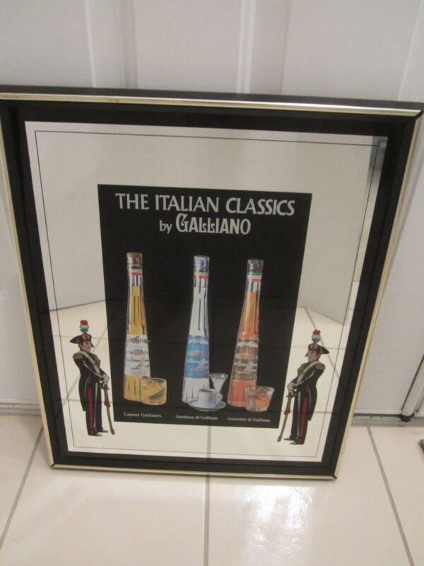 GALLIANO ITALIAN CLASSICS FRAMED MIRROR BAR SIGN PUB MAN CAVE EXCELL