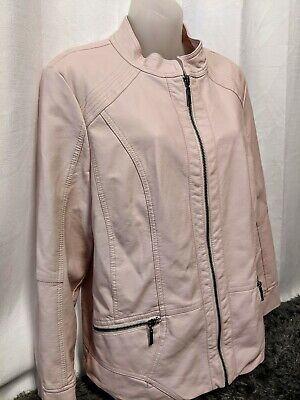 Women's Rose Peach CHRISTOPHER & BANKS motorcycle racer faux leather jacket L