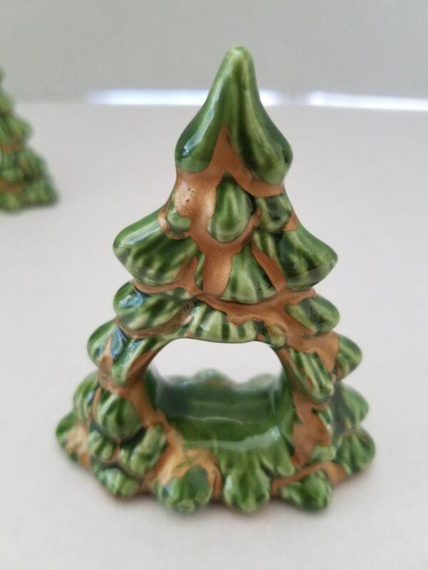 "Vintage Ceramic Christmas Tree Napkin Holders Set of 4 Green Gold 2 1/4 "" tall"