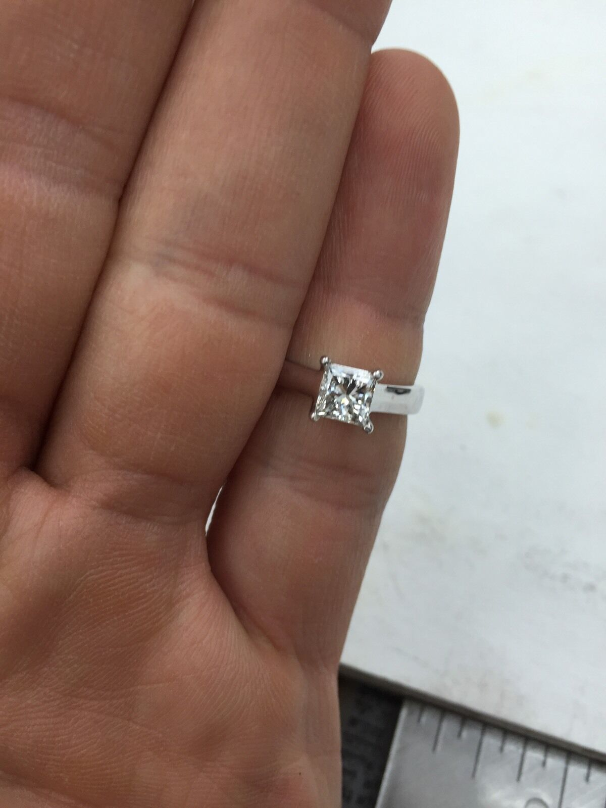 GIA Certified 0.70 ct Princess Cut Diamond Solitaire Engagement Ring F SI1 6