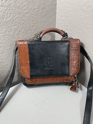 Vintage Belle Rose Brown Leather Cross Body Bag Multi Pockey Organizer Handbag