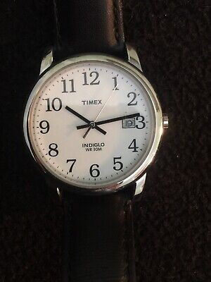 Timex T2H2819J Easy Reader 35mm Leather Strap Watch for Men Black Dail. B150