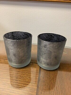 NEW YANKEE CANDLE SPIDER WEB GLASS VOTIVE CANDLE HOLDER LOT OF 2