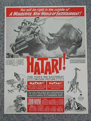 VINTAGE 1962 JOHN WAYNE HATARI MOVIE ADVERTISEMENT
