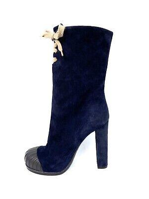 Fendi Blue Corduroy Duck Suede Ankle Boots Sz 7/ 37