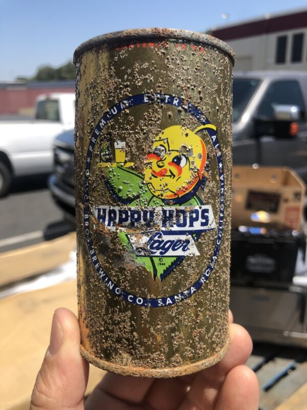 Gold Happy Hops Lager Flat Top Beer Can - Grace Brothers Santa Rosa, CA Can 2