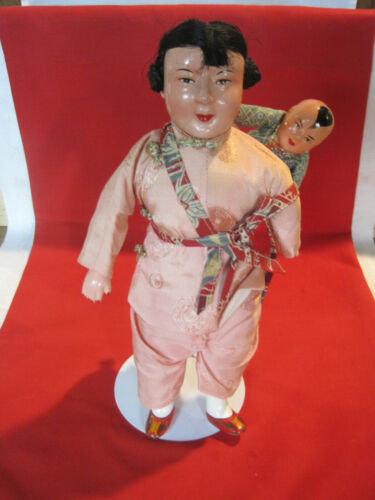 Antique vintage Chinese composition doll, Amah & child doll, circa 1930s