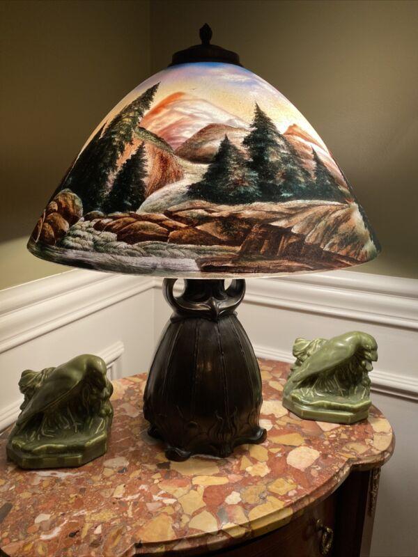 Pittsburg Owl Reverse Painted Lamp, Arts And Crafts Period, B&H, Handel Era