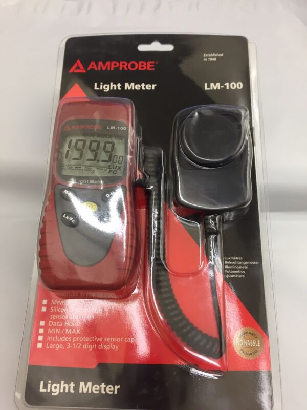 Amprobe LM-100 Digital Light Meter w/ Sensor Cap and Carry Case
