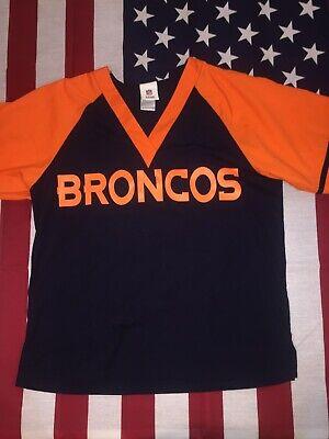 NFL Denver Broncos womens scrub top shirt nursing blue orange NFL Small Denver Broncos Womens Top