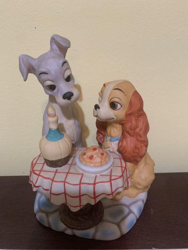 Vintage Walt Disney Production Lady and the Tramp Figurine Spaghetti Scene