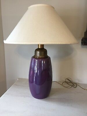 "Used, Vintage Royal Haeger MCM Purple Large Lamp 30"" Tall Original Linen Shade for sale  Staten Island"