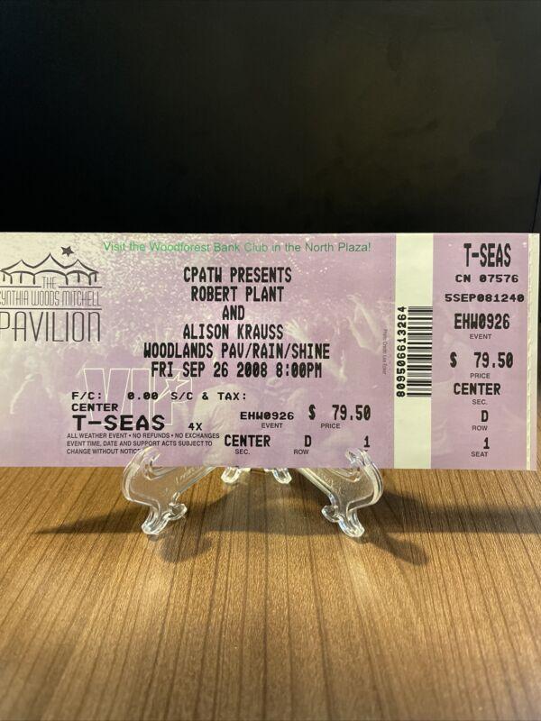 Robert Plant & Alison Krauss Concert Ticket Unused Vintage Sept 26 2008