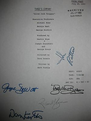 Three's Company Signed TV Script John Ritter Don Knotts Joyce DeWitt Barnes rpnt